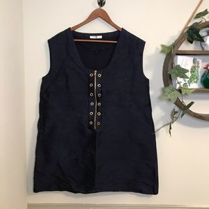 Prada dark blue sleeveless zip up top size 46